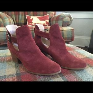 Sole Society oxblood suede booties